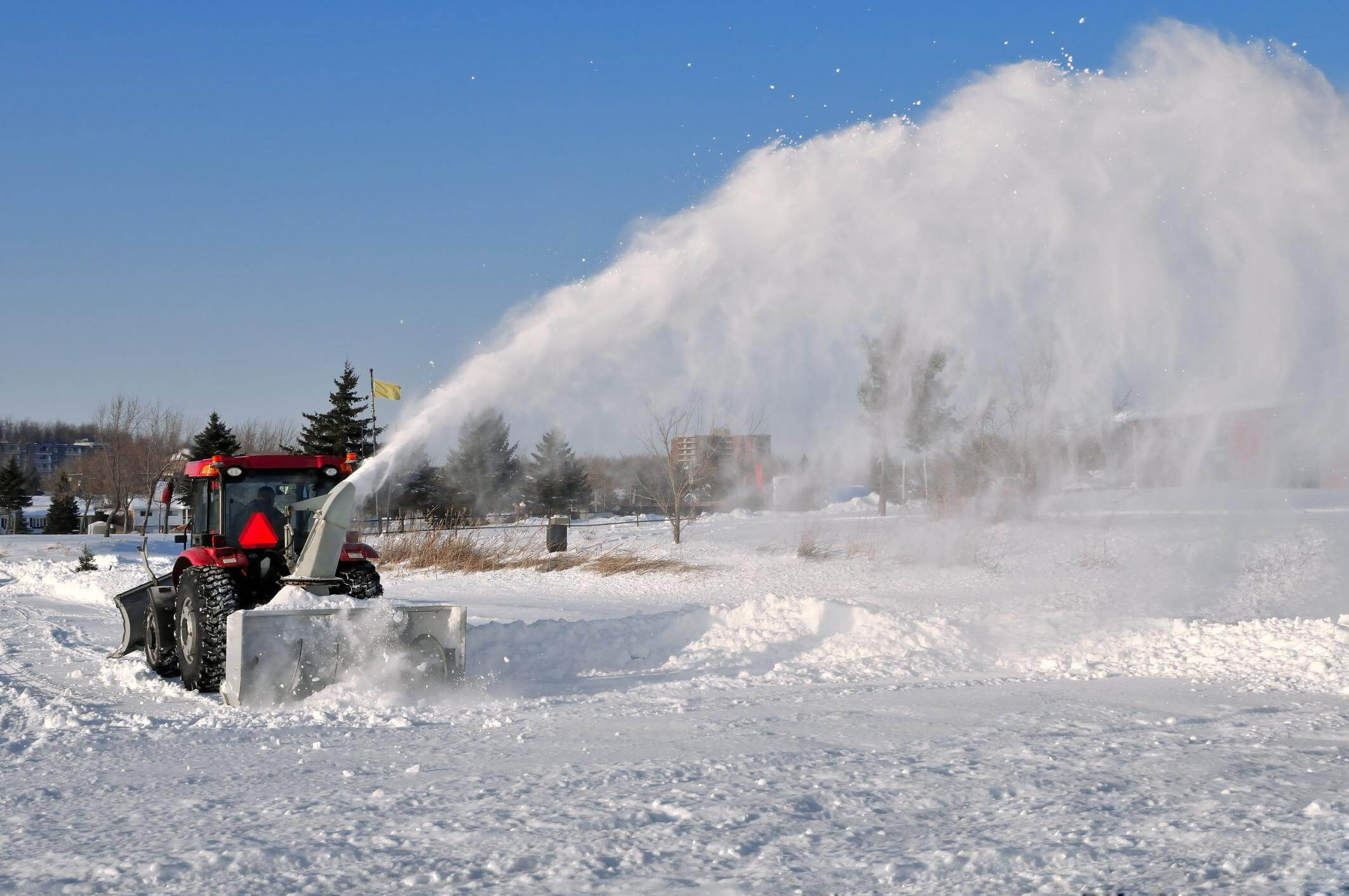 This is a picture of a parking lot snow removal.